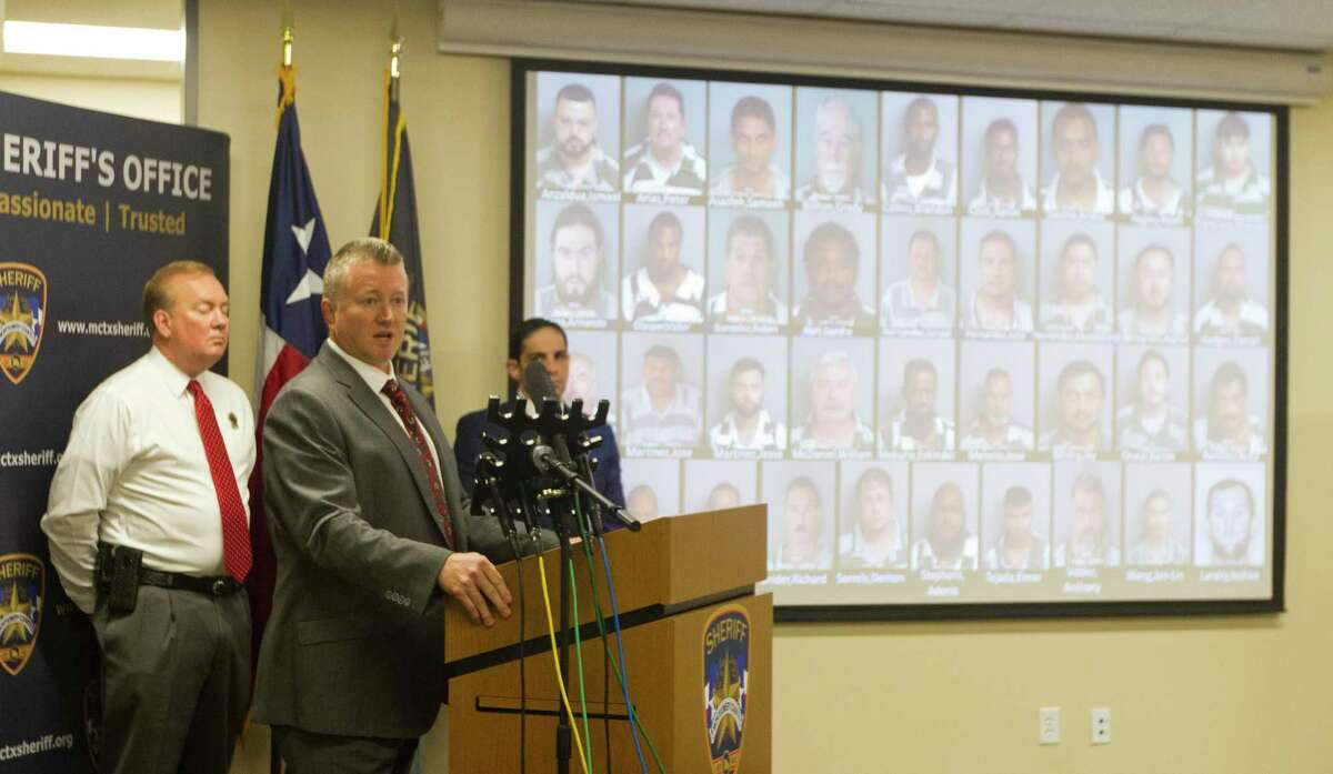 during a press conference at the Montgomery County Sheriff's Office, Tuesday, Oct. 1, 2019, in Conroe. Seventy-nine people were arrested for human trafficking and prostitution as part of the Sheriff's Office's multi-agency investigation called 'Operation Labour.'
