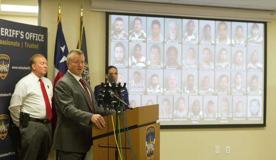 during a press conference at the Montgomery County Sheriff's Office, Tuesday, Oct. 1, 2019, in Conroe. Seventy-nine people were arrested for human trafficking and prostitution as part of the Sheriff's Office's multi-agency investigation called 'Operation Labour.' Photo: Jason Fochtman, Houston Chronicle / Staff Photographer / Houston Chronicle