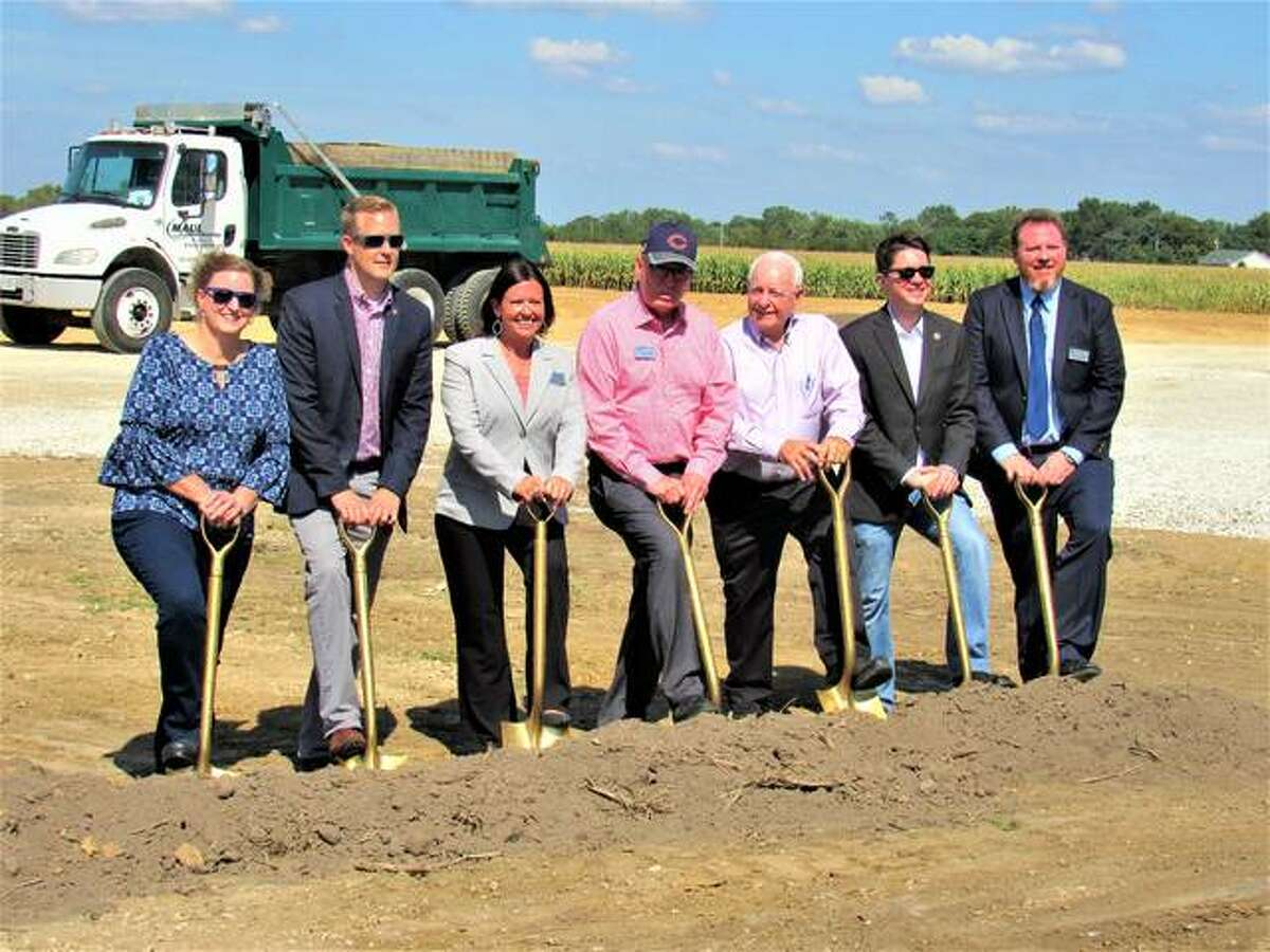 Ground was broken Monday for the Hawthorne Inn, an $11 million 45,000-square-foot facility under construction in Jerseyville. Pictured from left are Cristy Elving; state Rep. C.D. Davidsmeyer, R-Jacksonville; Dana Bainter; developer Don Fike; Kenny Phillips; state Sen. Steve McClure, R-Springfield; and Brady Dabbs.