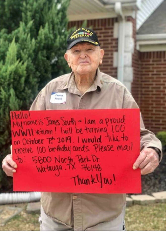 James South, from Watauga, Texas, went viral last week after kindly requesting people send him 100 birthday cards in celebration of his 100th birthday on October 7. South was overwhelmed by public attention with hundreds of comments thanking him for his service, and wishing him a happy birthday. Photo: Harmony School Of Endeavor