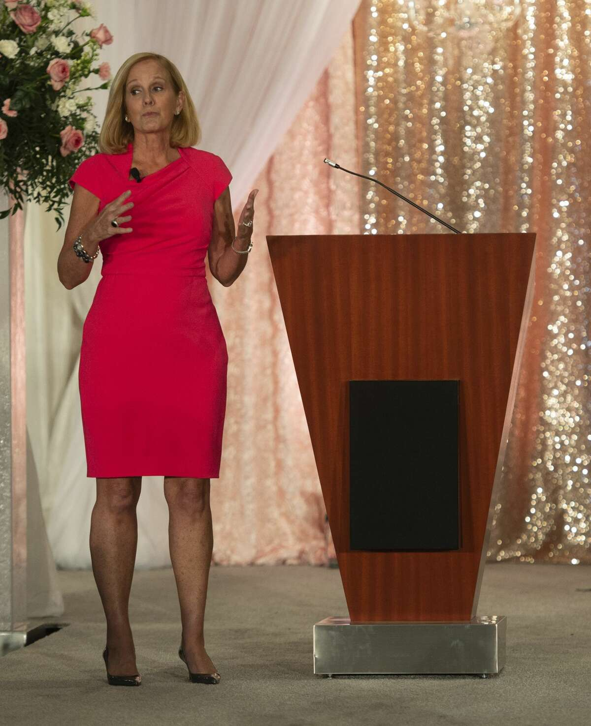 Keynote speaker and breast cancer survivor Lori Allen speaks during the Pink the Basin benefit luncheon was held Tuesday, Oct. 1, 2019 at the Odessa Marriott Hotel and Conference Center.