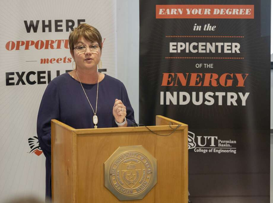 President Sandra Woodley talks about the success of the engineering department at the University of Texas of the Permian Basin on Tuesday, Sept. 24, 2019 at UTPB Engineering Building. Photo: Jacy Lewis/Reporter-Telegram