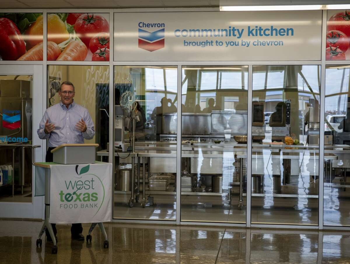 Don Puckett, Chevron general manager of operations, speaks at the ribbon cutting for the renaming of the Community Kitchen on Monday, Sept. 23, 2019 at the West Texas Food Bank in Odessa.