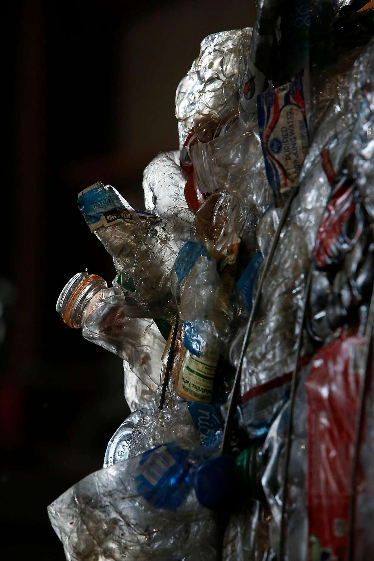 Plastic bottles are seen baled together at the Recology recycling center on Monday, September 30, 2019 in San Francisco, CA.