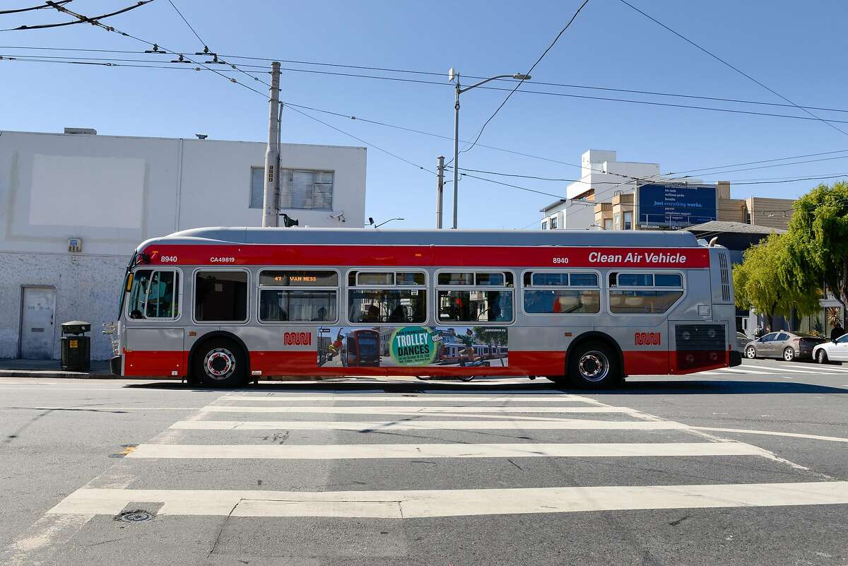 An all-electric Muni bus entering the green zone where the bus switches to an all-electric operation in a part of the city that has been historically been overlooked for environmental equity on September 29, 2019 in San Francisco, Calif.
