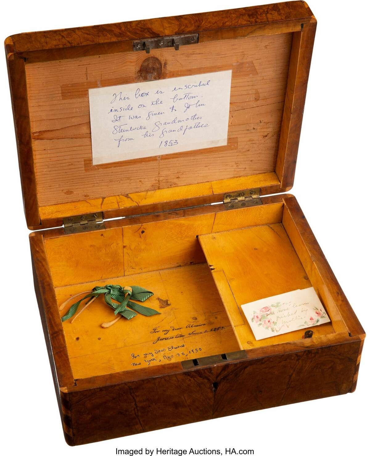 A Victorian box given by John Steinbeck's grandfather to his wife, and later from Steinbeck to his third wife Elaine Scott.