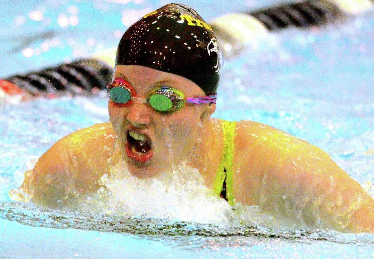 Trumbull's Lauren Walsh competes in the 200 IM during CIAC swimming championship action at Southern Connecticut State University in New Haven, Conn., on Wednesday Nov. 14, 2018.