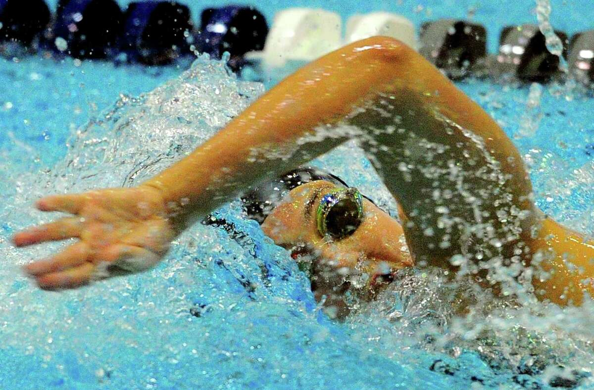 Trumbull's Mia Zajac competes in the 100 Yard Freestyle during CIAC swimming championship action at Southern Connecticut State University in New Haven, Conn., on Wednesday Nov. 14, 2018.