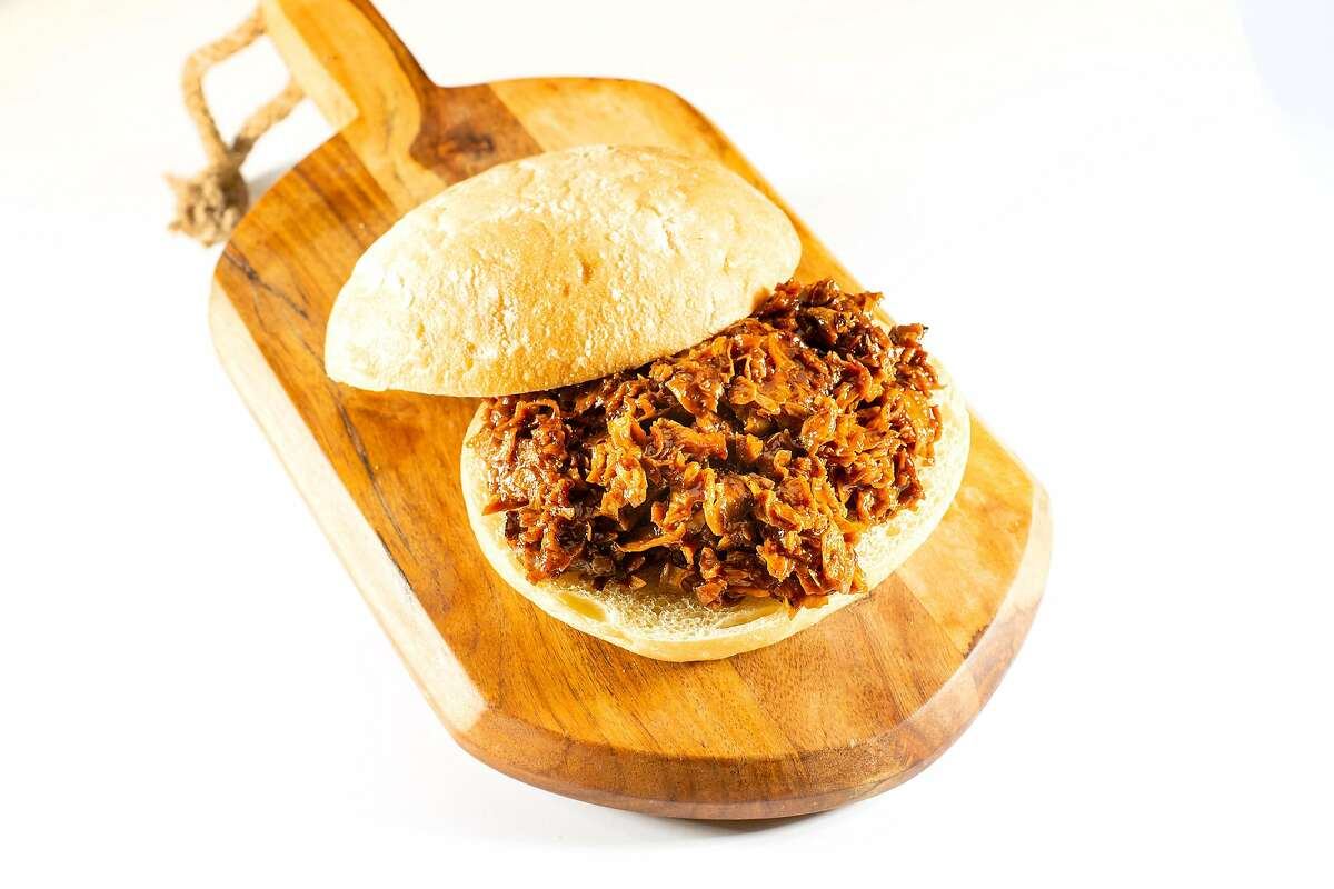 A vegan sandwich featuring Butcher's Son pulled pork is pictured on Thursday, Sept. 19, 2019, in San Francisco.
