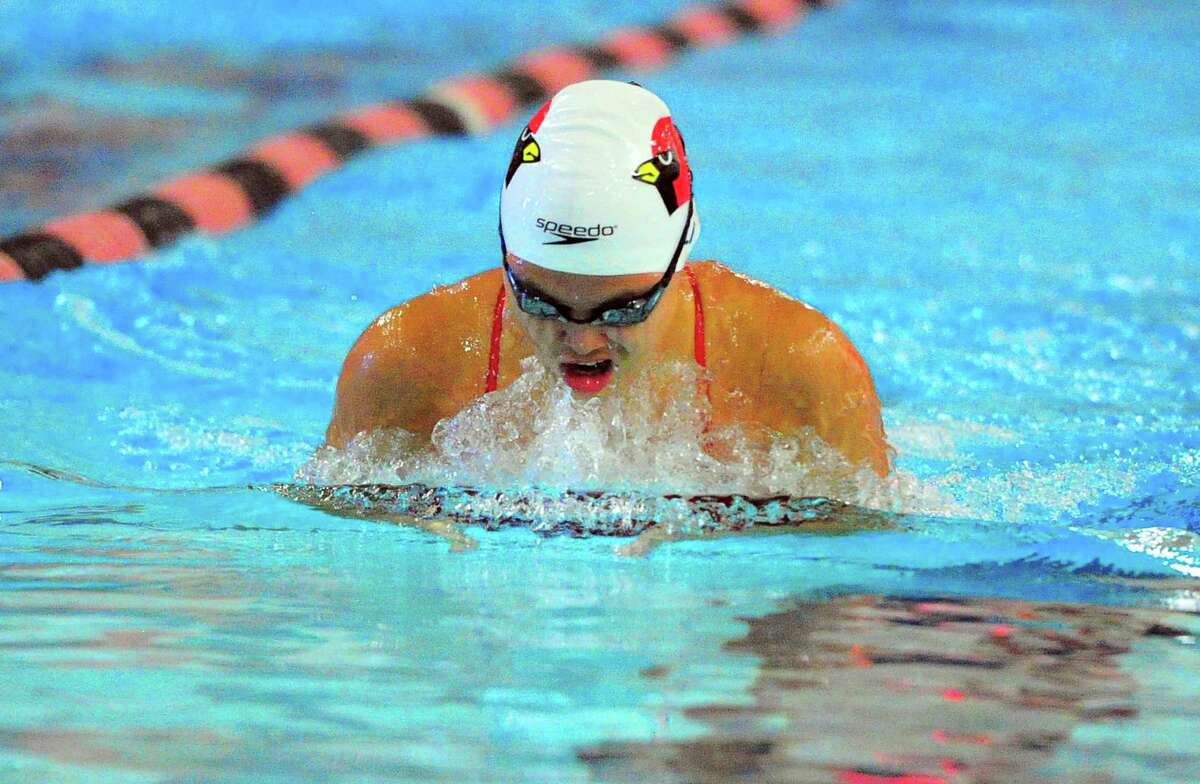 Greenwich's Caterina Li competes in the 100-meter breaststroke at Ridgefield last month.