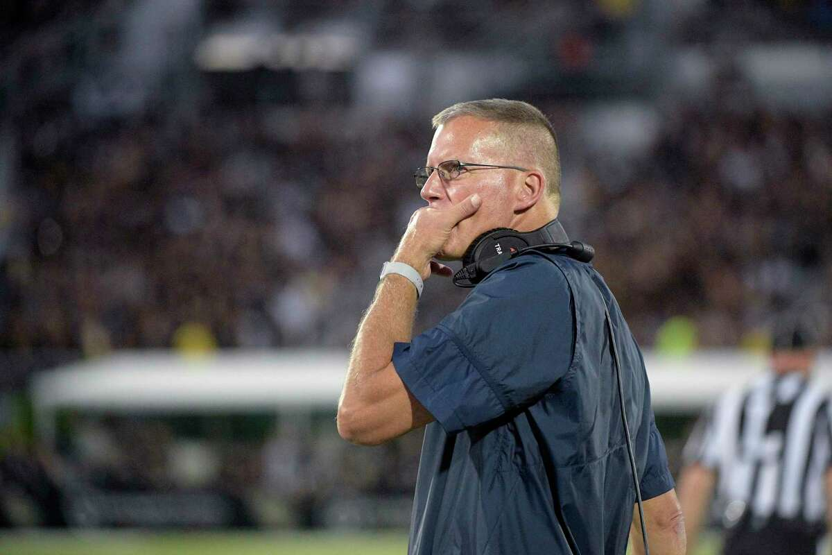 UConn coach Randy Edsall watches from the sideline during the first half during a game in 2019.