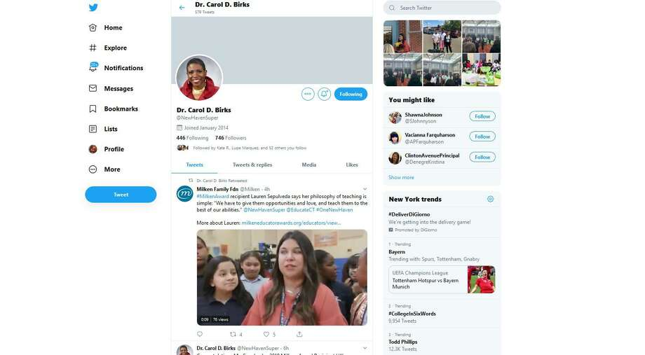 Images from the Twitter account of New Haven Superintendent of Schools Carol D. Birks. Photo: Twitter