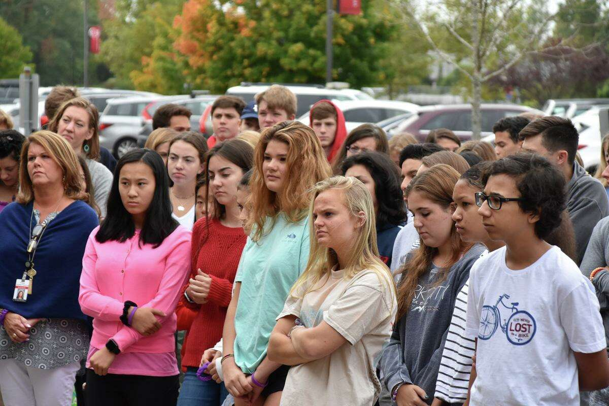 New Canaah High School students listen as October is declared Domestic Violence and Teen Dating Violence Prevention Monday on Oct. 1 at NCHS.