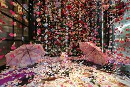 """Flower Rain"" is a photo-booth installation made of hanging silk petals, inside of the Avant Garden, a floral store in River Oaks District. It was photographed on Tuesday, Sept. 17, 2019, in Houston."