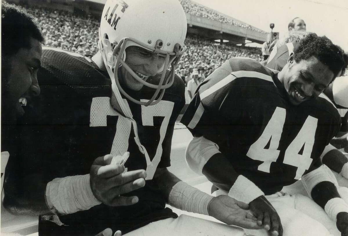 Ed Simonini, Texas A&M linebacker, was a key to team's ranking as No. 1 defense in nation his senior year.