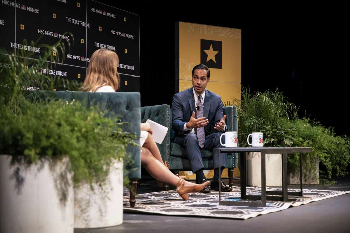 Democratic presidential candidate and former HUD Secretary, Julián Castro answers a question from MSNBC's Katy Tur onstage during a panel at The Texas Tribune Festival on Sept. 28, 2019 in Austin, Texas. The festival held over a dozen panels and speaking events with democratic presidential candidates as well as prominent Texas republicans.