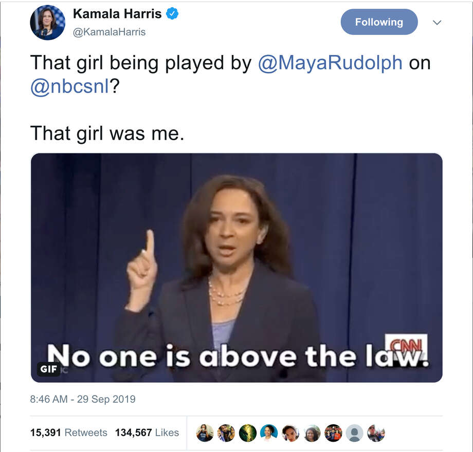 Kamala Harris responds on Twitter to an SNL sketch where she is played by Maya Rudolph. Photo: Twitter