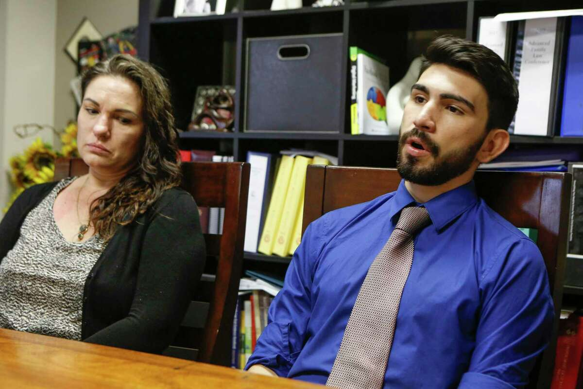 Melissa Purtee, shown with her son, Robert Purtee, says she contacted every law enforcement agency she could think of to warn that her ex-boyfriend, Robert Solis, was dangerous. Two months later, Solis stands accused of gunning down Harris County sheriff's deputy Sandeep Dhaliwal during a traffic stop.