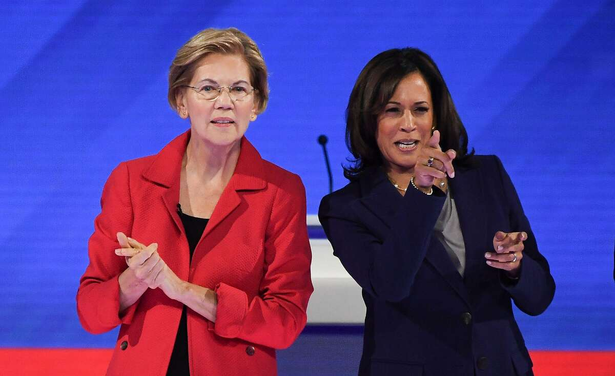 Democratic presidential hopefuls Massachusetts Senator Elizabeth Warren (L) and California Senator Kamala Harris (R) arrive on stage for the third Democratic primary debate of the 2020 presidential campaign season hosted by ABC News in partnership with Univision at Texas Southern University in Houston, Texas on September 12, 2019. (Photo by Robyn BECK / AFP)ROBYN BECK/AFP/Getty Images