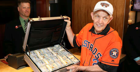 """Gallery Furniture owner """"Mattress Mack"""" Jim McIngvale placed a $3.5 million bet on the Astros to win the World Series at the Scarlet Pearl Casino in Biloxi, Mississippi on Tuesday."""