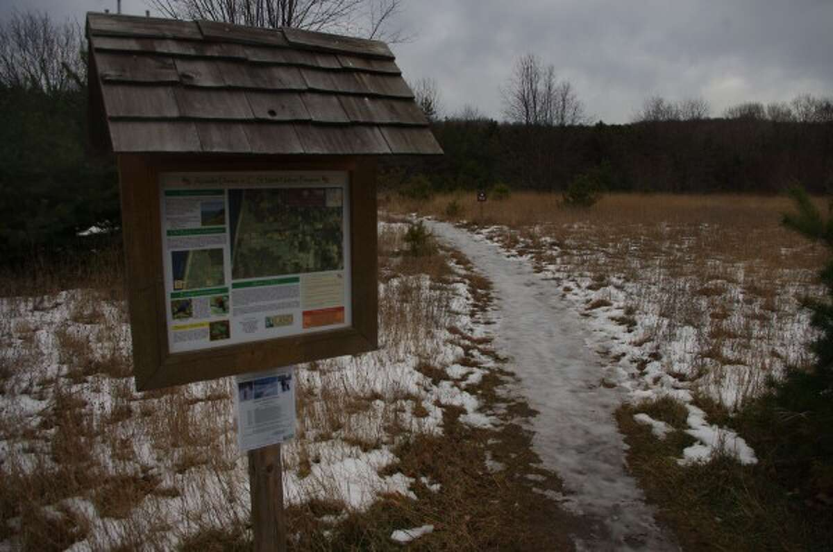 The entrance to the trail showed just a trace of snow.
