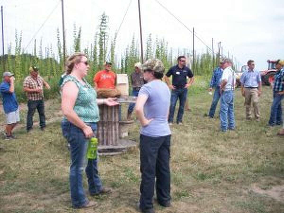 SOMETHING NEW: People taking the Osceola County Farm Bureau's Innovative Farm Tour Aug. 11, learn about the commercial market for the state's hops industry at Central Michigan Hops in Evart.