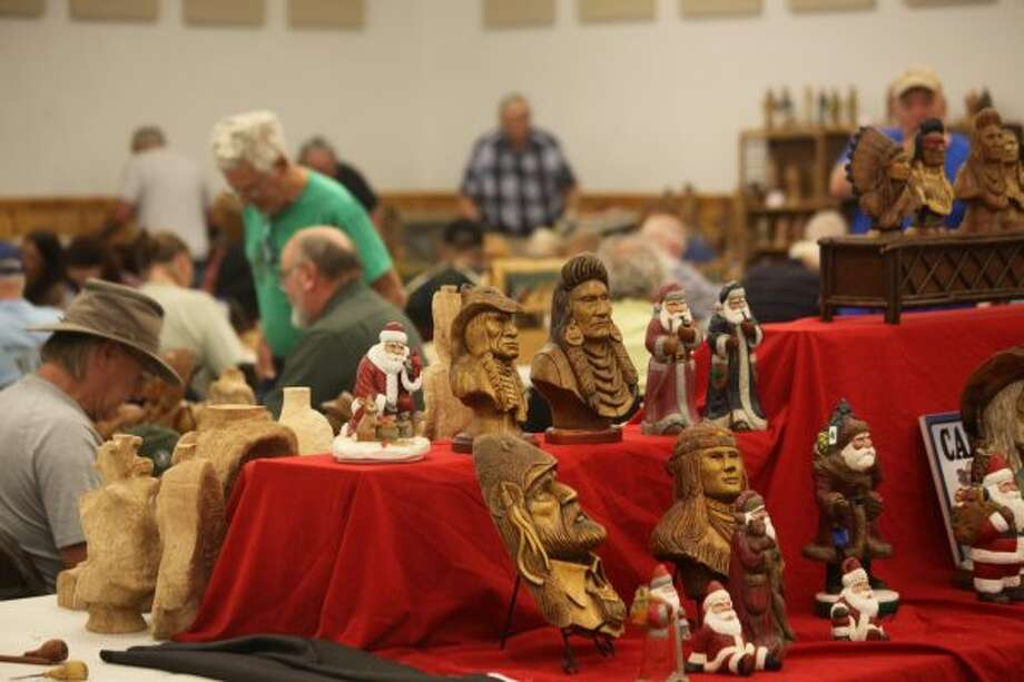 The 19th annual Woodcarvers Roundup in Evart drew veteran and novice woodcarvers from across the country who wanted to try their hand at the craft. The event included vendors and instructors teaching visitors how to make different carvings. (Herald Review photos/Taylor Fussman)