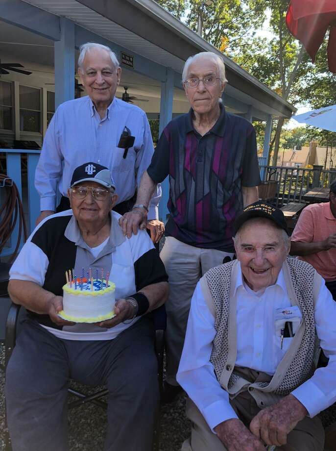 The Shelton Republican Town Committee held its annual picnic at the American Legion Post #16 on Sunday, and as part of the festivities took time to honor (rear, from left) Joseph DeFilippo, Geno Bonitanibus, (front, from left) Steve Chuckta, Sr., and Roy Glover. Photo: Contributed Photo / / Connecticut Post