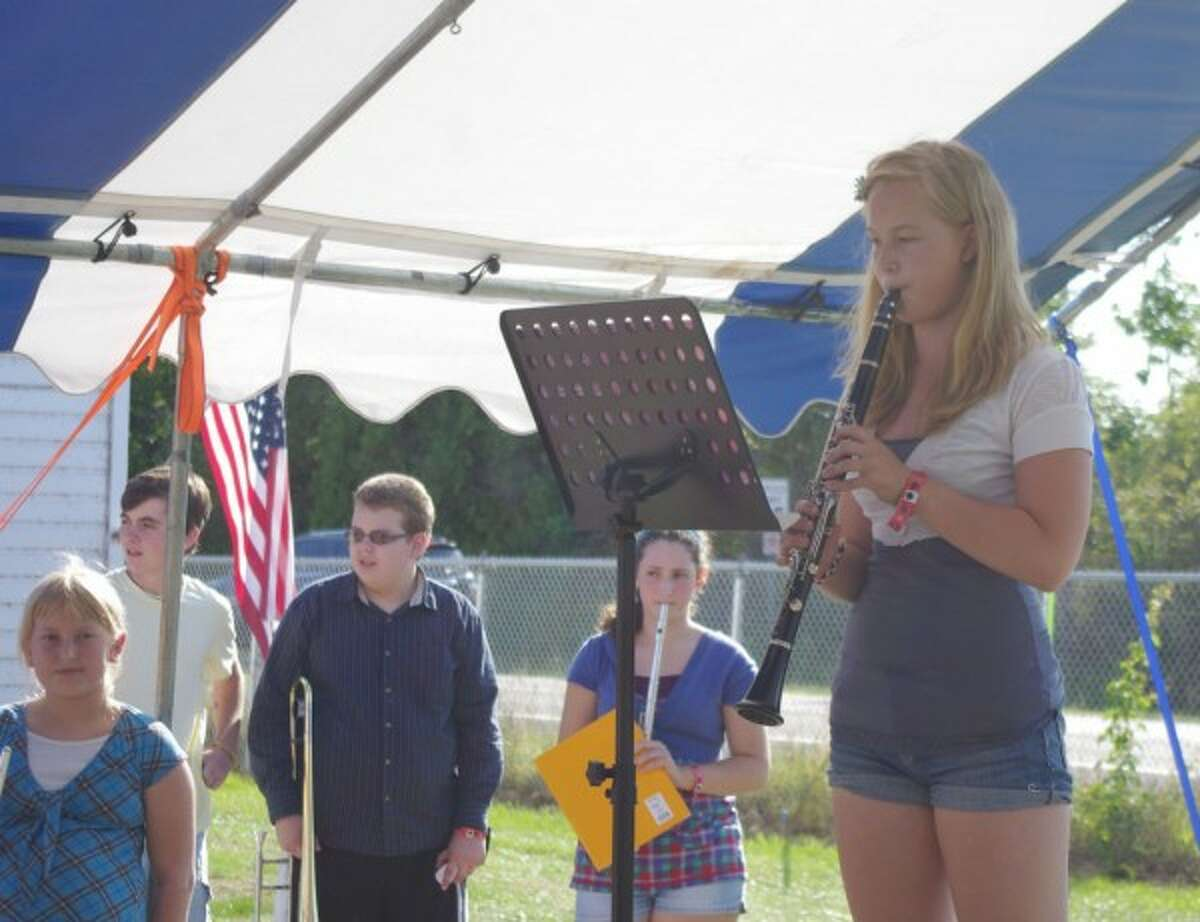Hannah Stuck plays the clarinet as the other