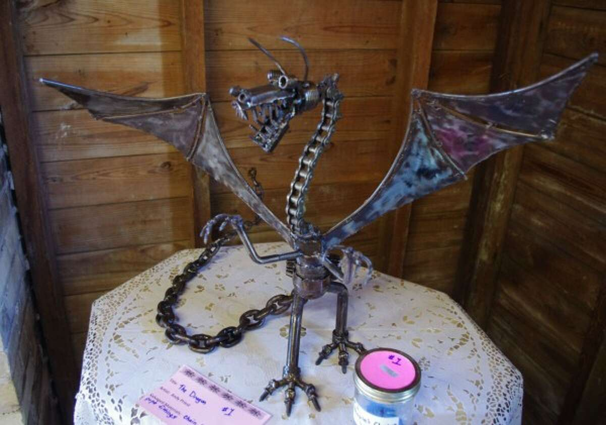A dragon made from spare metal parts was one of the items on display at the Green Art Fair. (Dave Yarnell/News Advocate)