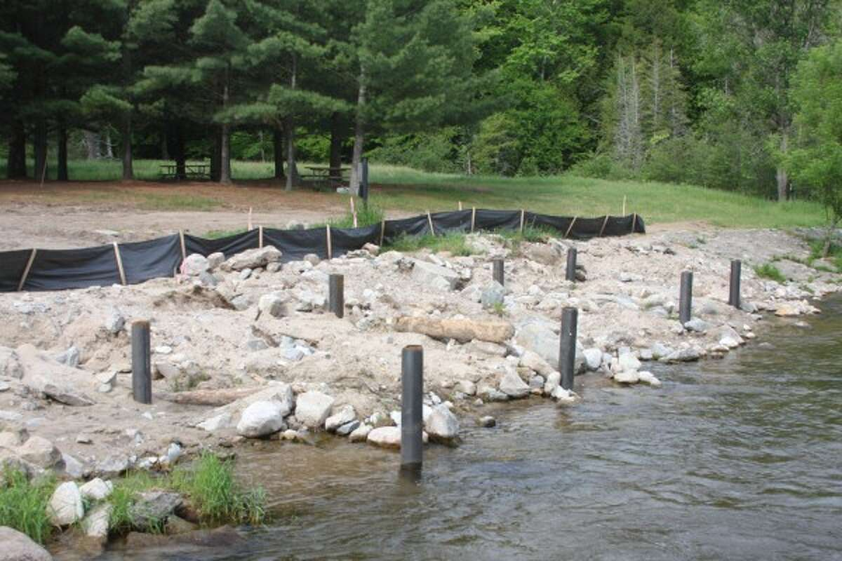 Construction began on an observation deck at the Little Manistee River Weir in June. (Justine McGuire/News Advocate)
