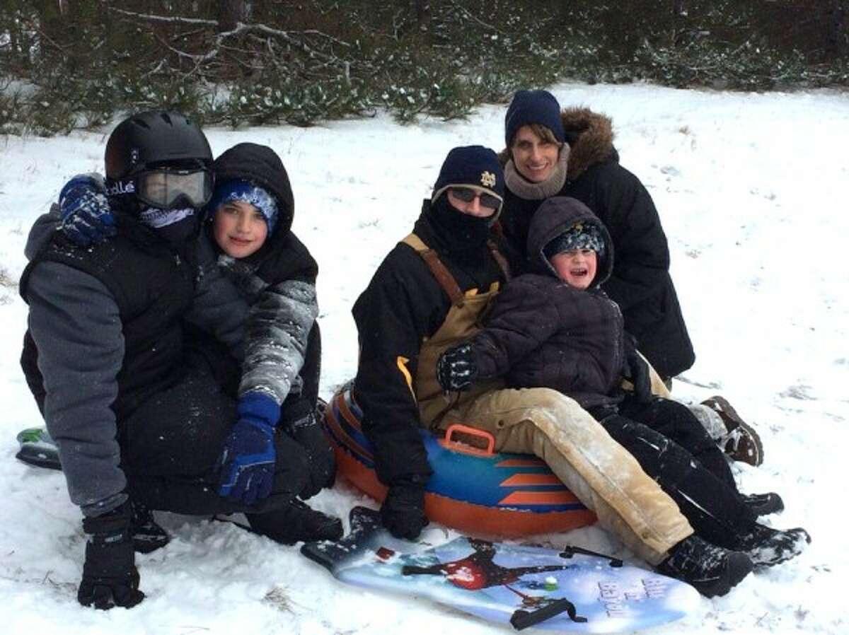 Jason, Lindsay, Brayden, Tyler and Myles Hallead had a blast sledding at Manistee Catholic Central recently.