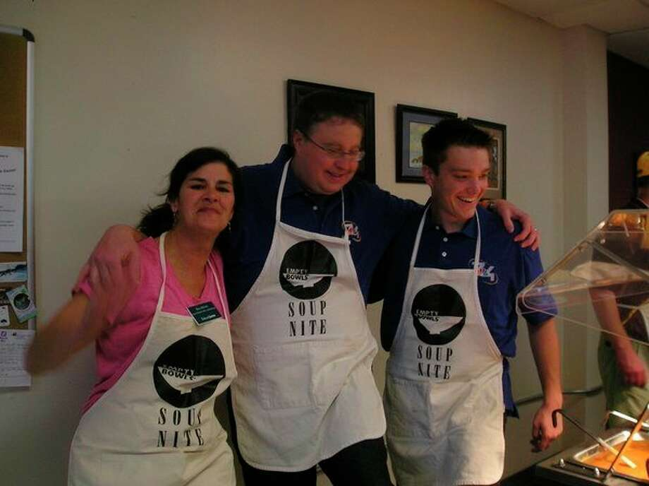 Celebrity servers are part of Soup Nite, held at the Gathering Place in Honor to help raise money for the Benzie Food Partner's food pantry. (Courtesy Photo)