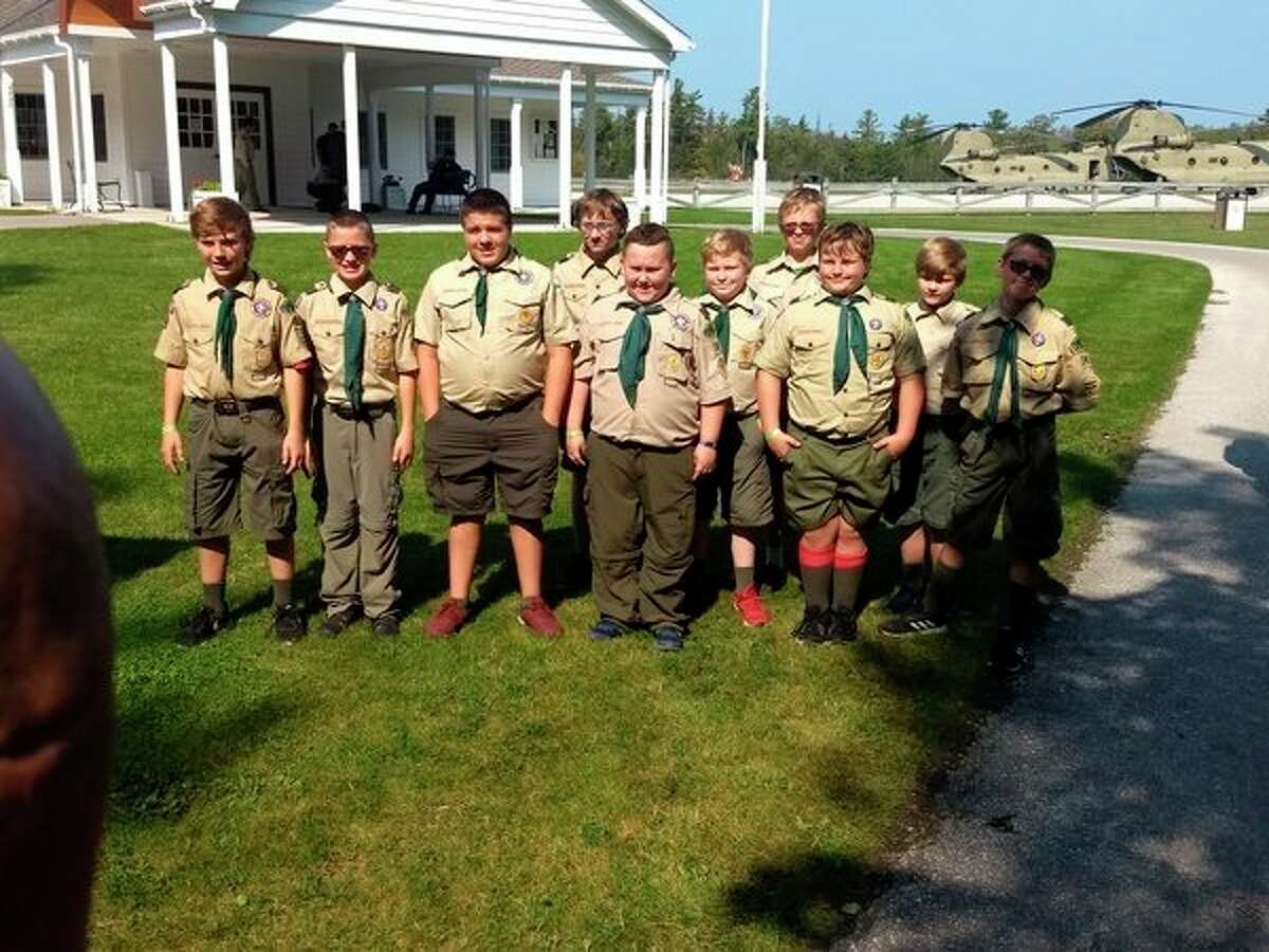 Local Scout Troop 74 was chosen to meet and shake hands with Vice President Mike Pence while visiting Mackinac Island as part of the BSA Mackinac Rendezvous on Sept. 21. The scouts were chosen form more than 1250 scouts attending the rendezvous. (Courtesy photos)