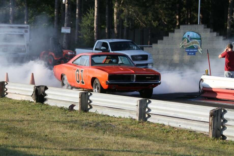 The Dukes of Hazard-inspired General Lee made an appearance at the Northern Michigan Dragway for its After Hours Street Drags event on Friday, July 10, in Kaleva. (Dylan Savela/News Advocate)