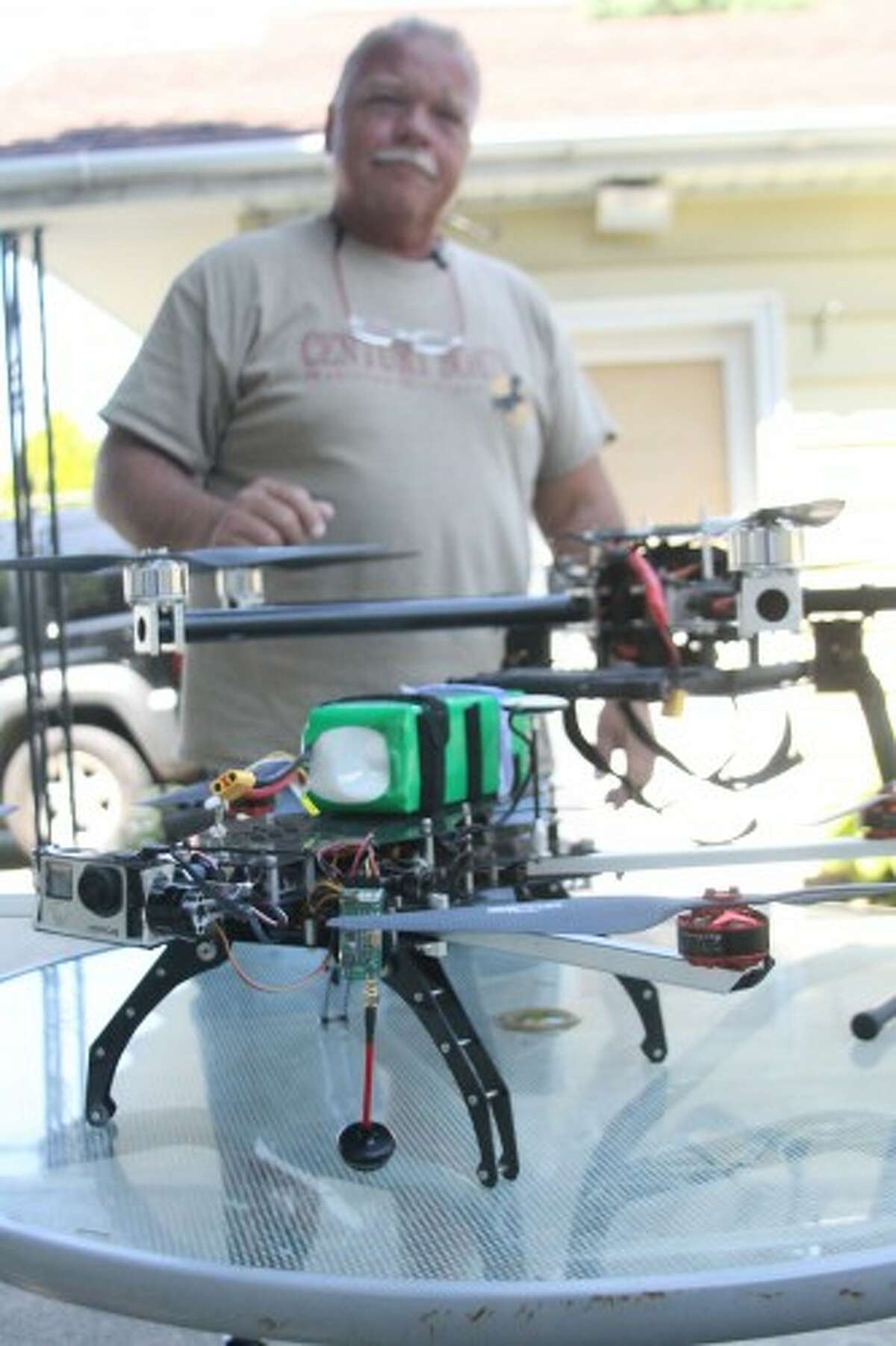 Areaux uses a Turbo Ace Matrix I drone and a Turbo Ace Infinity Six drone, each with a GoPro brand camera attached to capture photos and video. (Sean Bradley/News Advocate)