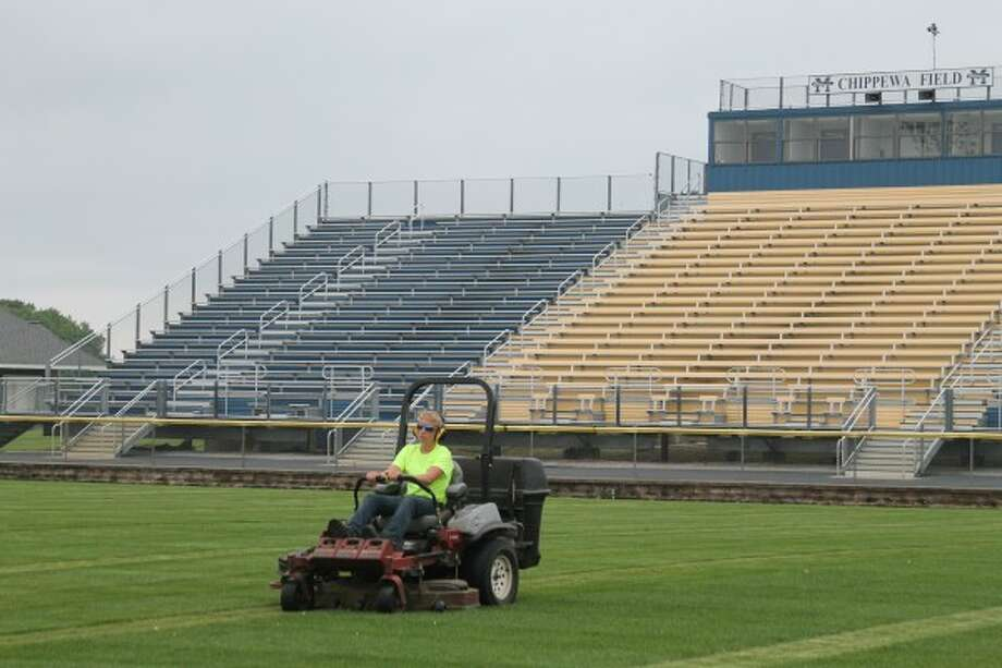 The Manistee High School Football field was getting cut on Wednesday in preparation for the 2015 season opener on Aug. 28 against the Ludington Orioles. (Photos by Ken Grabowski/News Advocate)