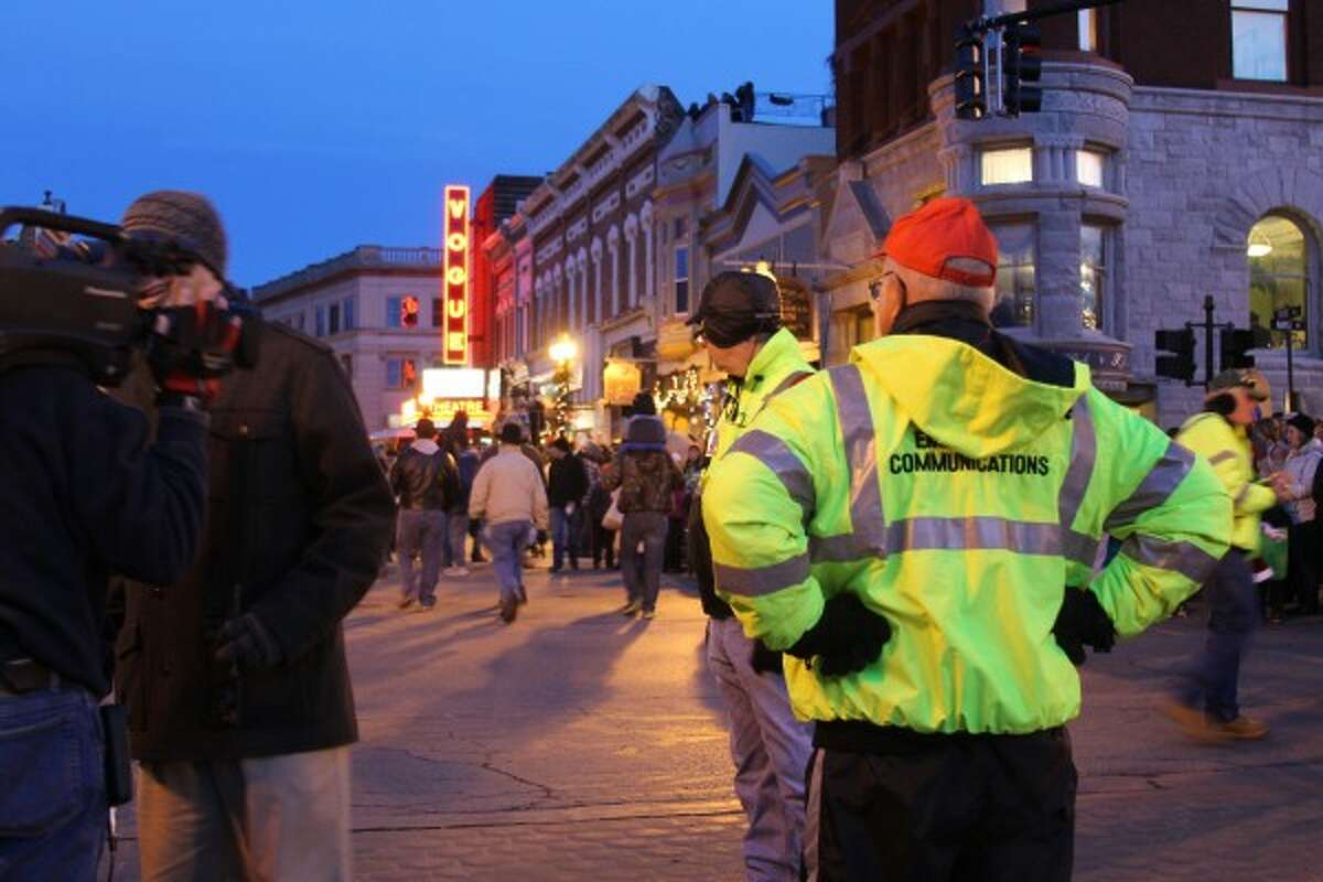 The all-volunteer members of the Bear Lake Township and Benzie County Community Emergency Response Team (CERT) worked with MiNews26 during its live broadcast on Saturday of the Victorian Sleighbell Parade in downtown Manistee. (Ken Grabowski/News Advocate)
