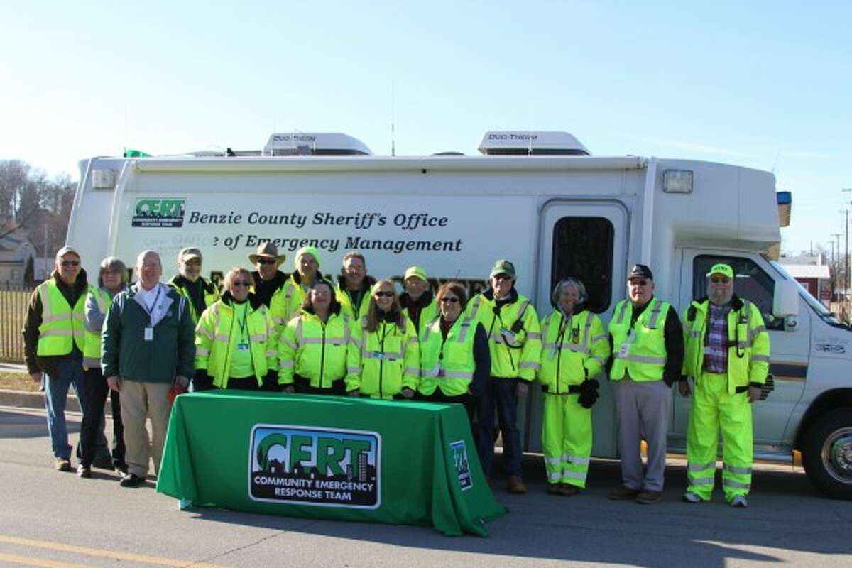 The Benzie County and Bear Lake Township CERT organizations gathered outside of the control center, which was located near the City of Manistee Municipal Marina. (Ken Grabowski/News Advocate)