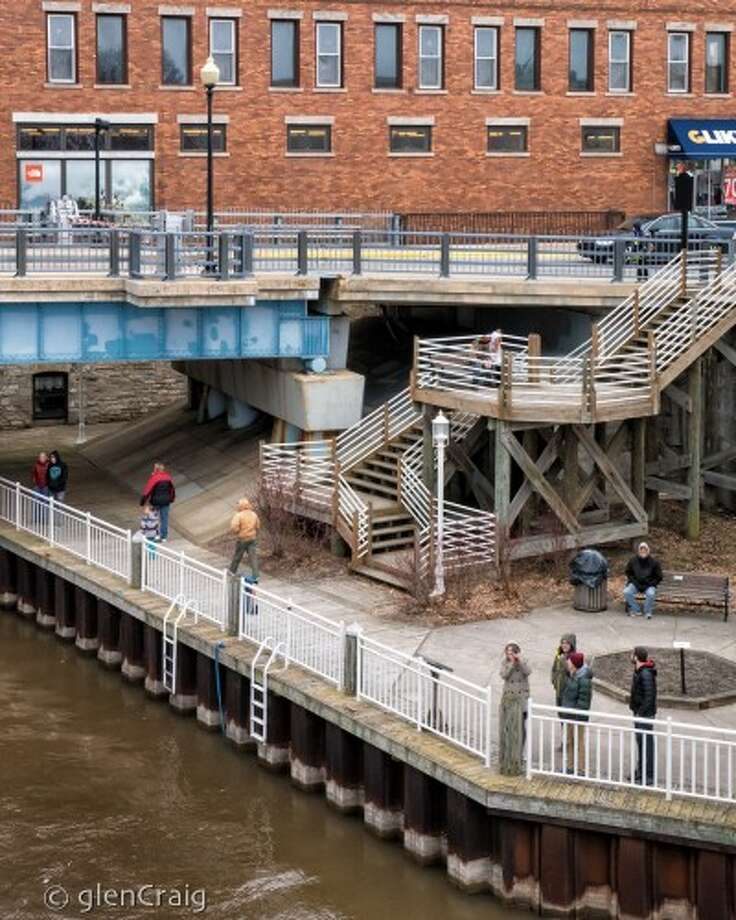 As the Buffalo made its way through the Manistee River channel earlier this month, the engineer on-board took photos of those on shore. (Craig T. Niedzielski/Courtesy photo)