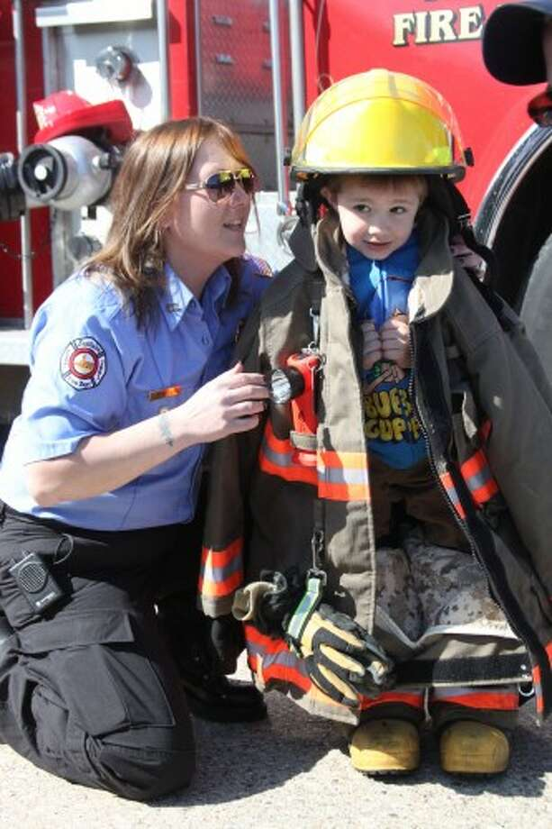 The Eastlake Fire Department was on hand Saturday morning at the Family Fun Health Fair, sponsored by the Great Start Collaborative. Future firemen and women were able to try on gear. (Dylan Savela/News Advocate)