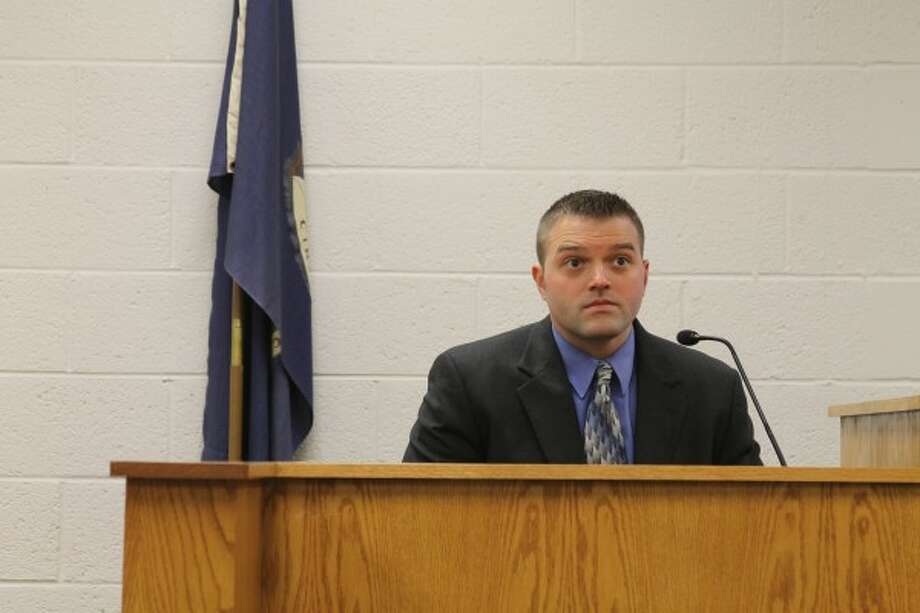 Sgt. Brian Gutowski of the Manistee County Sheriff's Office testified during a preliminary examination Tuesday in the 85th District Court for an animal cruelty case involving the arrest last year on a felony charge of 24-year-old Copemish woman Brittannie Wiggins-Pickard and her husband Darrin Pickard Jr. He testified about deputies traveling to the home three times between Sept. 10 and Oct. 21 regarding living conditions for dogs at the property. (Sean Bradley/News Advocate)