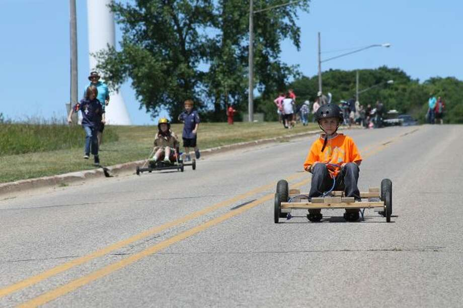 About 20 members from Manistee's Cub Scout Pack No. 269 participated in Cub Mobile Races on Sunday afternoon. (Photos by Michelle Graves/News Advocate)