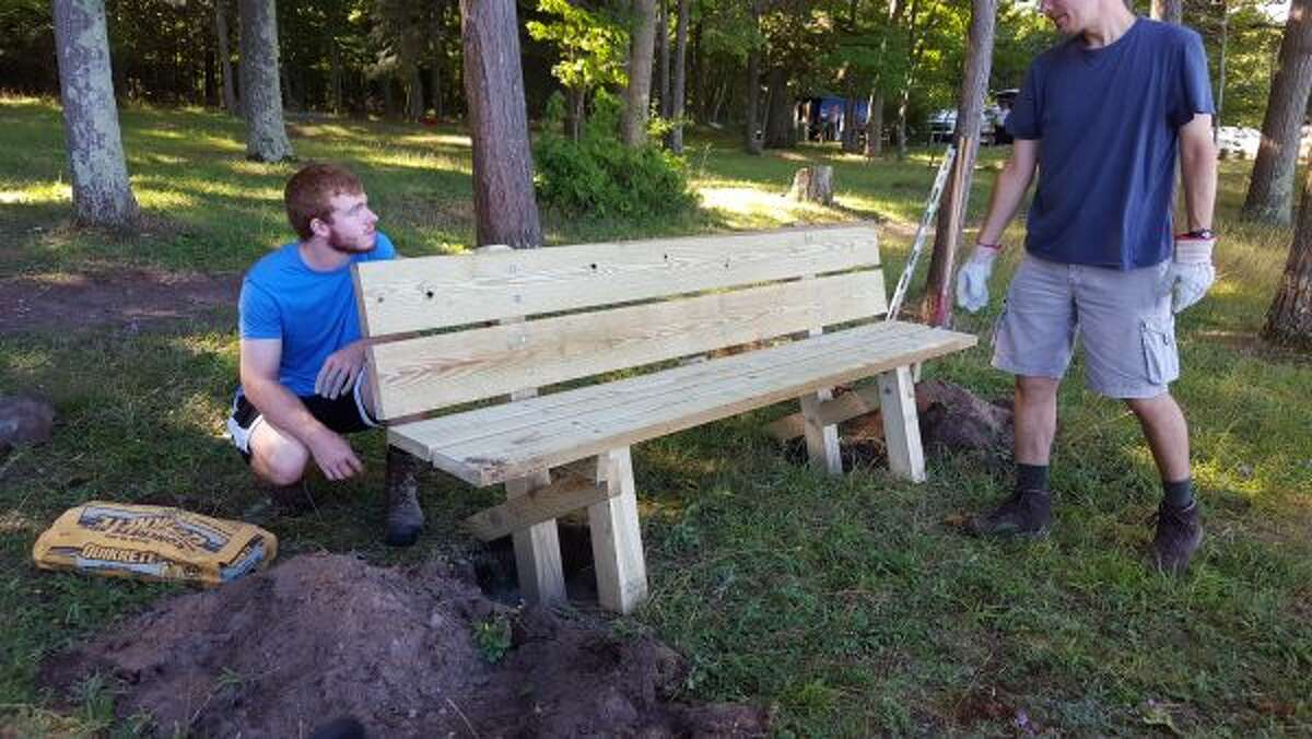 Jarrod Cameron, left, led a project to improve the picnic area at Magoon Creek recently in order to receive his Eagle Scout rank. (Courtesy Photo)