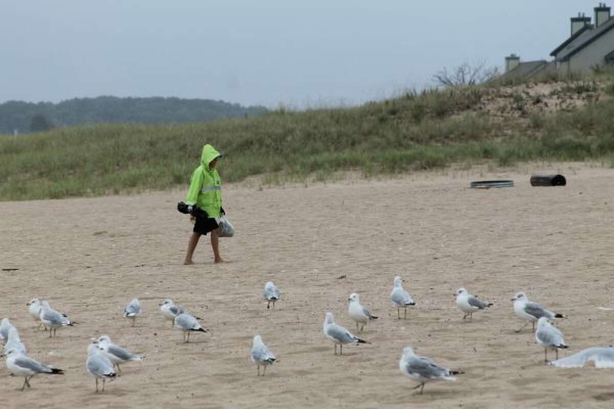 Despited a steady rain, a handful of volunteers turned out at Fifth Avenue Beach on Saturday to pick up trash as part of an event coordinated by the Manistee Water Guardians. (Photos by Michelle Graves/News Advocate)