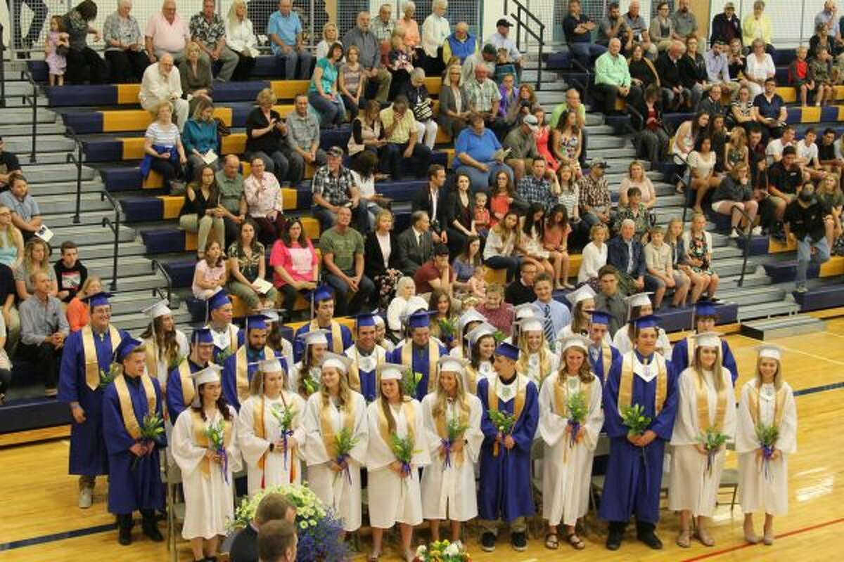 Onekama Consolidated Schools graduated 27 students on Sunday and presented certificates of attendance to six. (Michelle Graves/News Advocate)