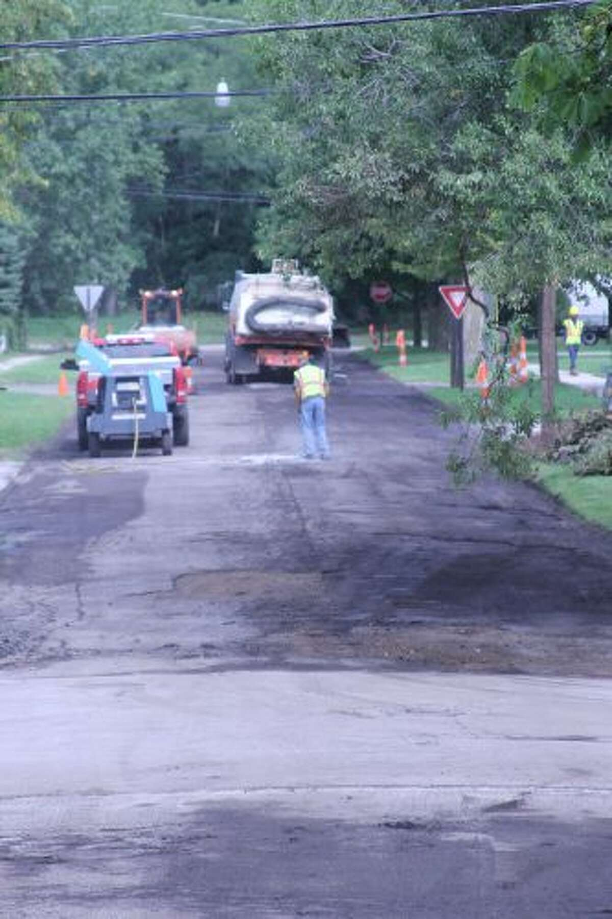 Various streets in the City of Manistee have been torn up for mill-and-fill repair operations, which began Wednesday. (Sean Bradley/News Advocate)