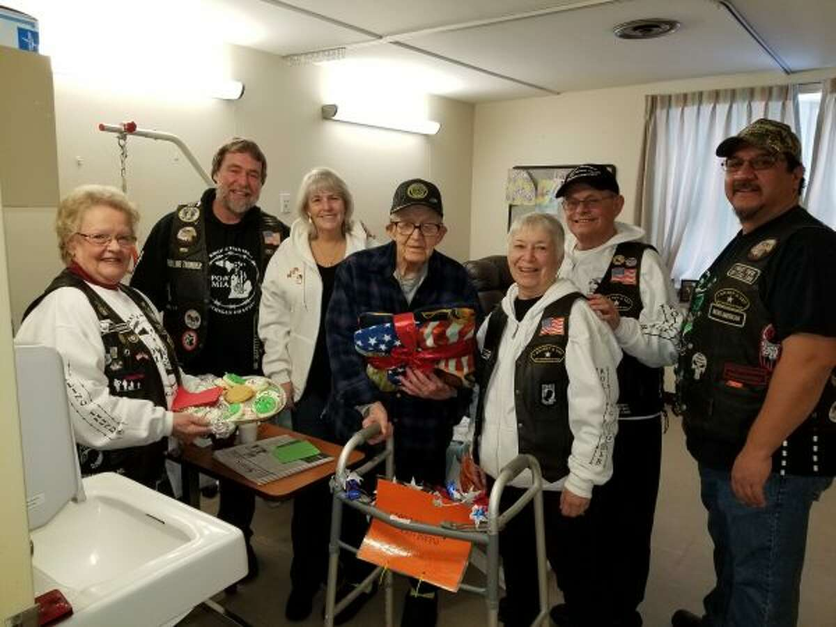 Members of Rolling Thunder Inc, Michigan Chapter 1 took cookies and gifts to veterans at area nursing homes on Dec. 15 and 16. (Courtesy photo)