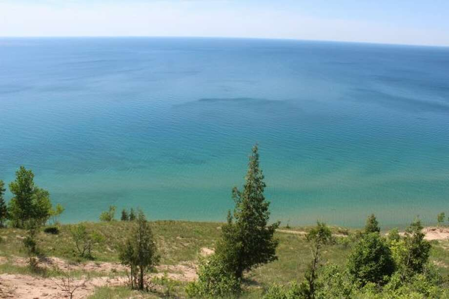 The stunning blues of Lake Michigan are one of the rewards for the hike. (Robert Myers/Pioneer News Network)