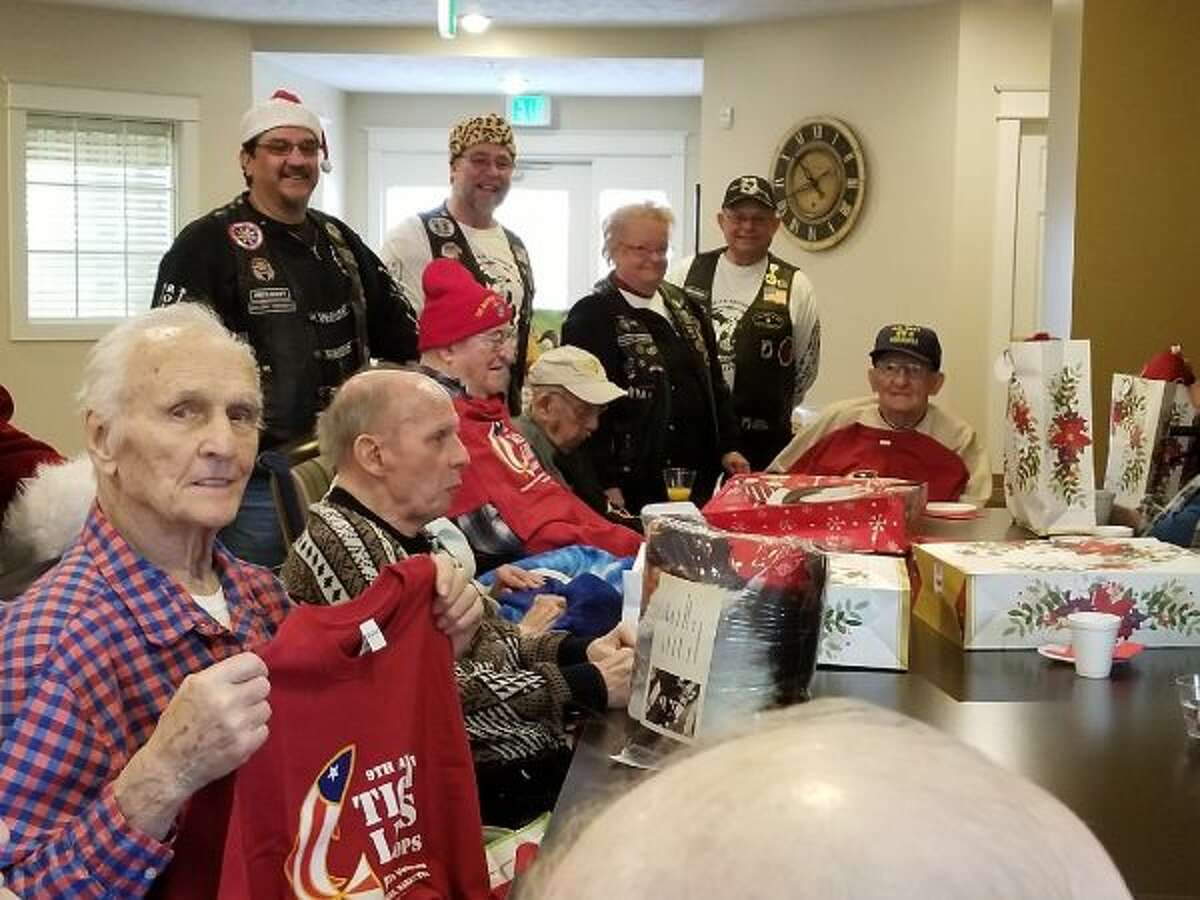 On Dec. 19 and 20, members of Rolling Thunder®Inc., Michigan Chapter 1 entertained and gave Christmas cookies and gifts to a veterans at Manistee County Medical Care Facility in Manistee. (Courtesy photo)